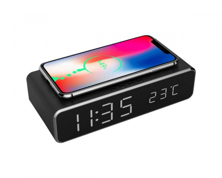Digital Alarm Clock with Qi-charging Black in the group Mobile Accessories / Wireless charging at MaxGaming (14995)