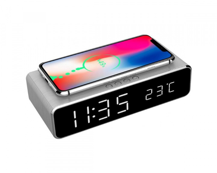 Digital Alarm Clock with Qi-charging Silver in the group Mobile Accessories / Wireless charging at MaxGaming (14996)